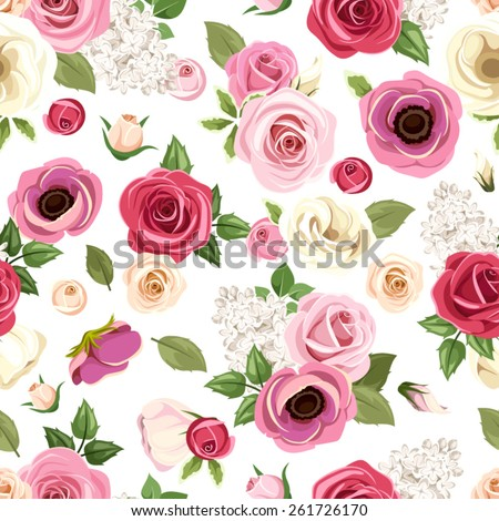Vector seamless pattern with red, pink, orange, purple and white roses, lisianthus, anemone and lilac flowers. - stock vector
