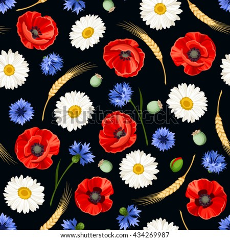 Vector seamless pattern with red poppies, white daisies, blue cornflowers and ears of wheat on a black background.