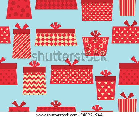 Vector seamless pattern  with red present boxes - stock vector
