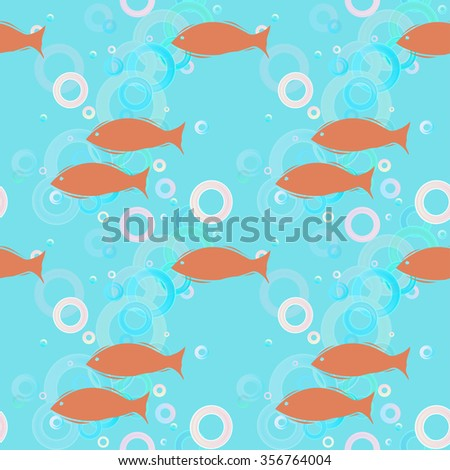 Vector seamless pattern with red silhouettes of fishes on a aquamarine background with rainbow bubbles. Eps 10. - stock vector