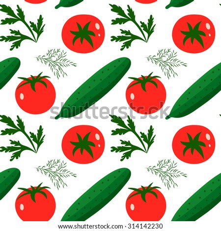 Vector seamless pattern with red tomatoes and ripe cucumbers. Great for design of healthy lifestyle or diet. For wrapping paper, textiles and other food designs.Vector illustration. - stock vector