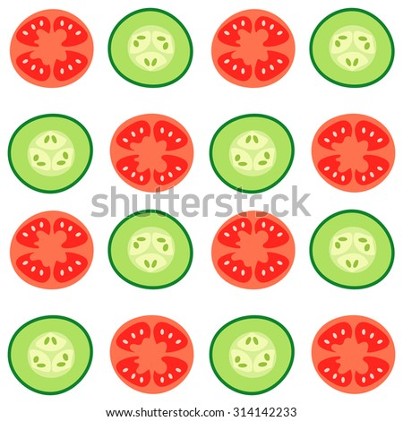 Vector seamless pattern with red tomatoes and ripe cucumbers. Great for design of healthy lifestyle or diet. For wrapping paper, textiles and other food designs.Vector illustration.