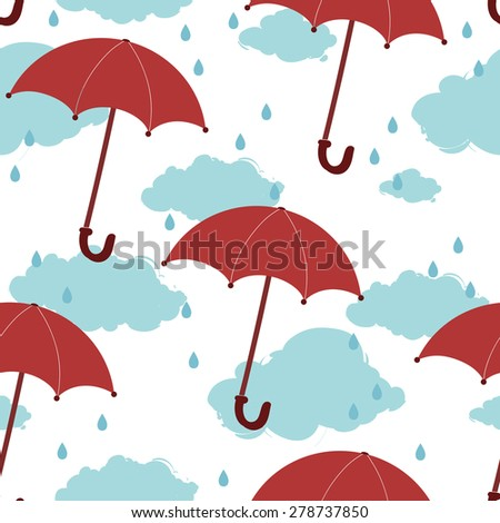 vector seamless pattern with red umbrellas - stock vector