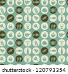 Vector seamless pattern with restaurant and food icons - stock vector