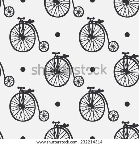 Vector seamless pattern with retro bikes. Vintage seamless pattern - stock vector