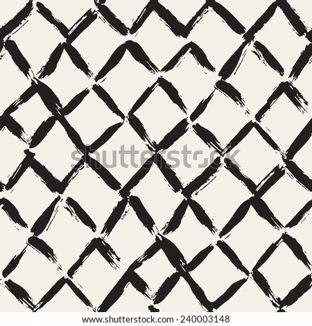 Vector seamless pattern with rhombuses. Abstract background made using of brush smears. Monochrome hand drawn texture - stock vector