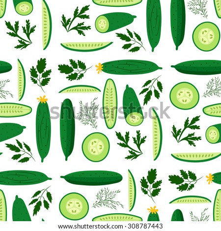Vector seamless pattern with ripe cucumbers. Great for design of healthy lifestyle or diet. For wrapping paper, textiles and other food designs.Vector illustration.