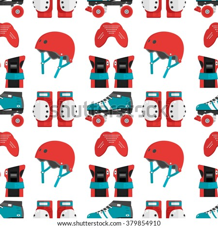 Vector seamless pattern with roller derby protective gear. Skating pattern with helmet, knee pads, mouthguard, wrist guard and quad roller skate. Skating flat background. Roller skating wallpaper - stock vector