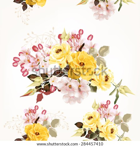 Vector seamless pattern with roses and lilac imitation of vintage watercolor style - stock vector