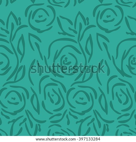 Vector seamless pattern with roses. Contour flowers. Green background