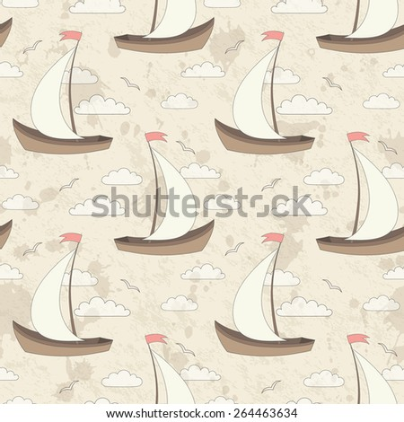 vector seamless pattern with sailing ships, gulls and clouds on grunge stain background - stock vector