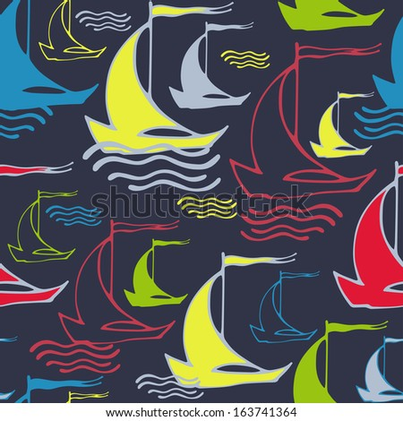 Vector seamless pattern with sailing ships on waves. Can be used for textile, spring summer fashion fabric, website background, book cover, packaging, greeting cards  - stock vector