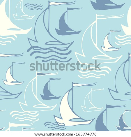 Vector seamless pattern with sailing ships on waves. Vintage background - stock vector