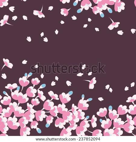 Vector seamless pattern with sakura branch - stock vector