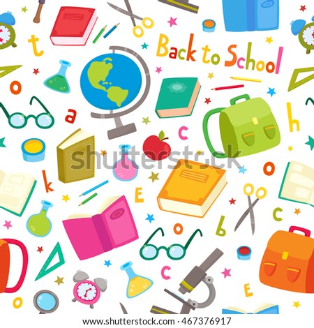 Vector seamless pattern with school elements isolated on white. Back to school background: backpack, books, pencils, pens, paint brush, glasses, microscope, globe, tubes, letters and stars.