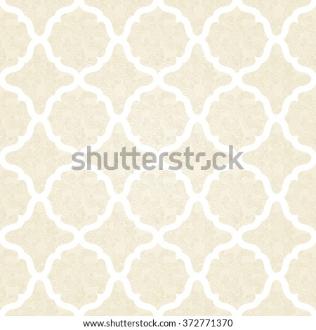 Vector seamless pattern with scroll ornament. Design element in Middle Eastern style. Ornamental lace tracery. Ornate decor for wallpaper. Traditional arabic decor on beige background. - stock vector