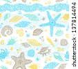 Vector seamless pattern with sea element and seashells. - stock
