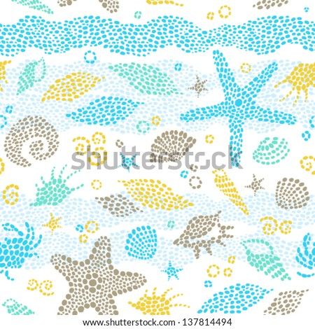 Vector seamless pattern with sea element and seashells. - stock vector