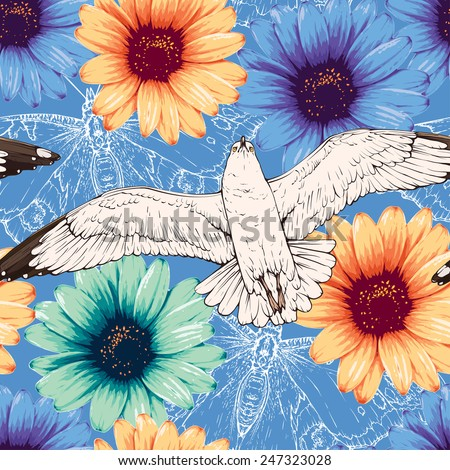 Vector seamless pattern with seagulls, butterflies silhouettes and flowers - stock vector