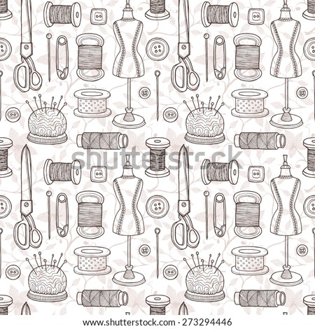 Vector Seamless Pattern Sewing Equipment Hand Stock Vector 273294446 ...