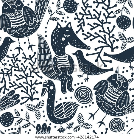 vector seamless pattern with silhouette animals and plants