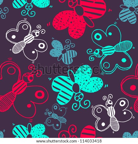 Vector seamless pattern with silhouettes colorful butterflies