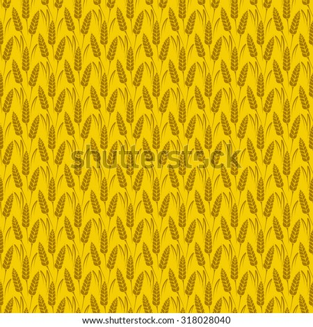 Vector seamless pattern with silhouettes of wheat ears. Whole grain, natural, organic background for bakery package, bread products. Vector illustration of growing rye field. Barley, corn texture. - stock vector