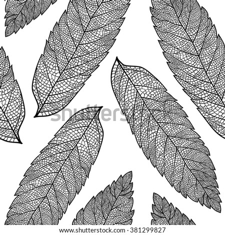Vector seamless pattern with skeletonized rowan leaves.