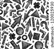 Vector seamless pattern with sketchy objects - stock photo