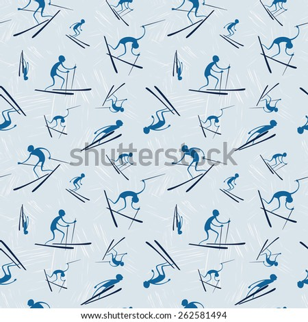 Vector seamless pattern with skiers.