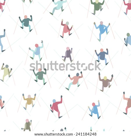 Vector seamless pattern with skiers climbing a hill. Cool design elements. Winter recreational activities and sport illustration, rhythmic and moody. - stock vector