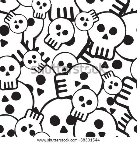 Vector seamless pattern with skulls - stock vector