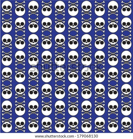 vector seamless pattern with skulls and bones blue background  - stock vector