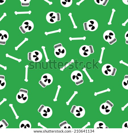 Vector seamless pattern with skulls and bones on light green  background - stock vector