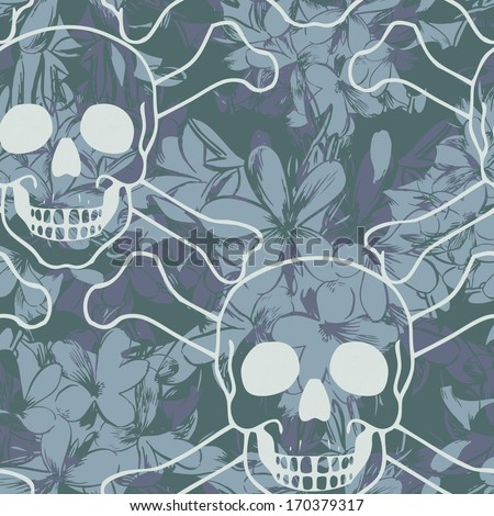 Vector seamless pattern with skulls and flowers