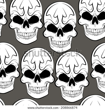 Vector Seamless pattern with skulls  gray background - stock vector