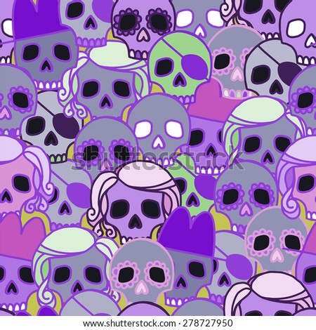 vector seamless pattern with skulls. Halloween, All Saints' Day