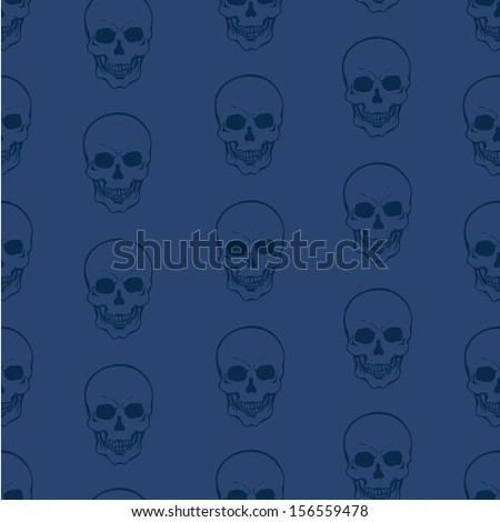 vector seamless pattern with skulls on blue background  - stock vector