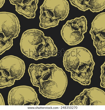 vector seamless pattern with skulls on dark background - stock vector