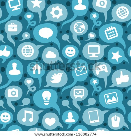 Vector seamless pattern with social media icons - doodle background
