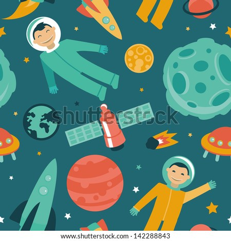 Vector seamless pattern with space and planets - astronaut in space