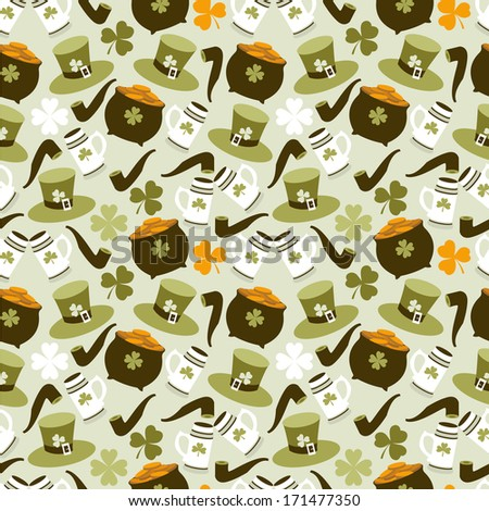Vector seamless pattern with St. Patrick's day  elements - stock vector