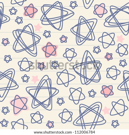 Vector seamless pattern with stars of doodles on sheet of notebook. Abstract Christmas ornamental background. Simple illustration with stylized sky in childish hand drawn style. Texture for print, web
