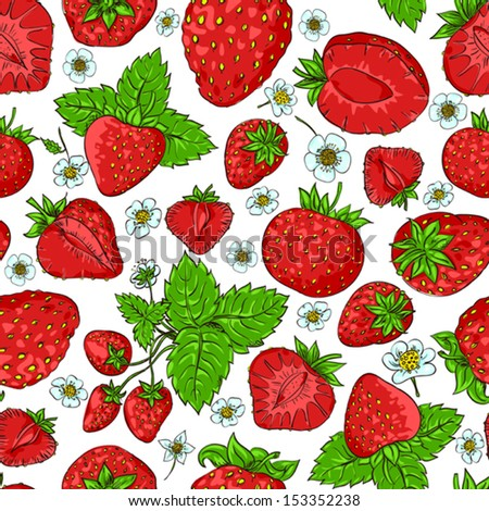 Vector seamless pattern with strawberry and flowers - stock vector