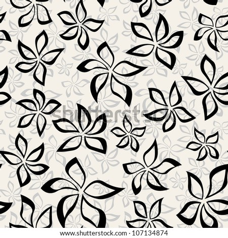 vector seamless pattern with stylish flowers. floral background - stock vector