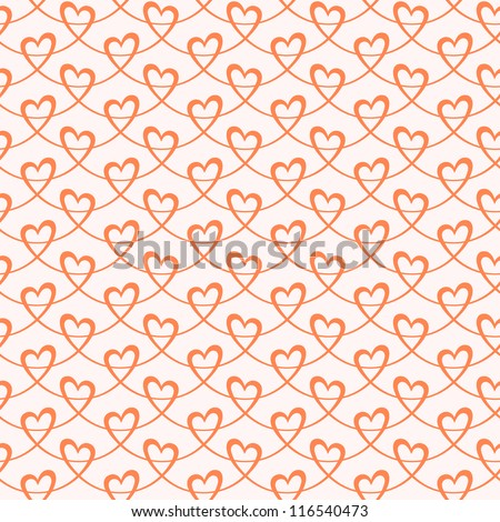 Vector seamless pattern with stylized hearts of red ribbons. Romantic light decorative background Valentines Day's, wedding. Simple abstract ornamental illustration for paper, textile, print and web