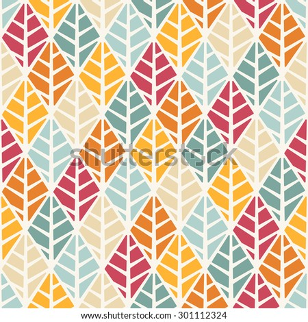 Vector seamless pattern with stylized leaves - stock vector