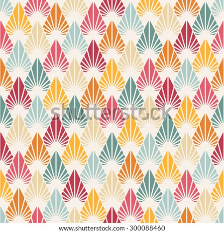 Vector seamless pattern with stylized leaves. Colorful geometric ornament. Floral stylish background.  - stock vector
