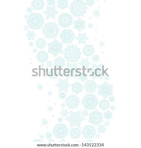 Vector seamless pattern with stylized snowflakes. Winter, New Year, Christmas simple design on a white background. Snow crystal regular texture on neutral colors.