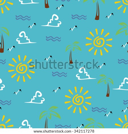 Vector Seamless Pattern With Sun and Seagulls - stock vector